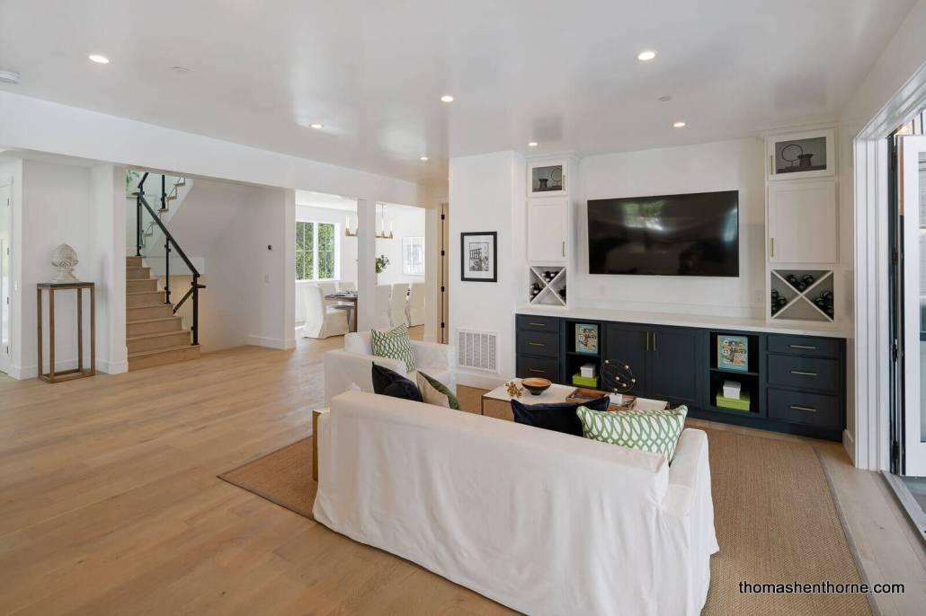 Wide plank hardwood flooring in modern farmhouse