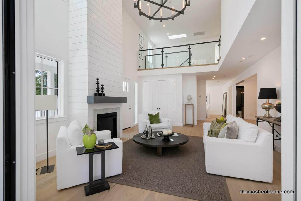 Living Room with 20 foot ceilings