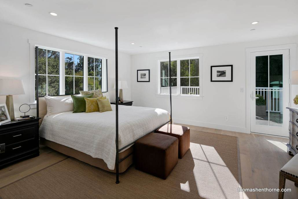 Four poster king sized bed in modern farmhouse