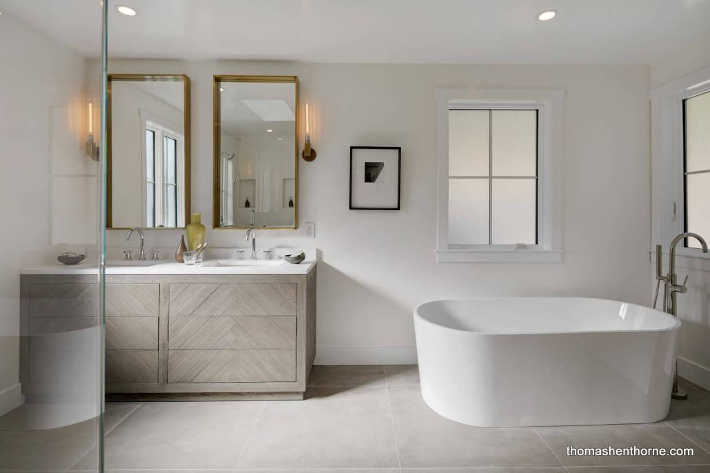 Modern master bathroom with soaking tub