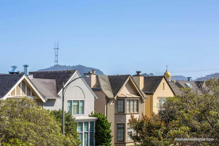 View of homes and Sutro Tower in San Francisco