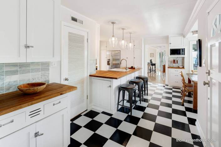 Kitchen with black and white floor