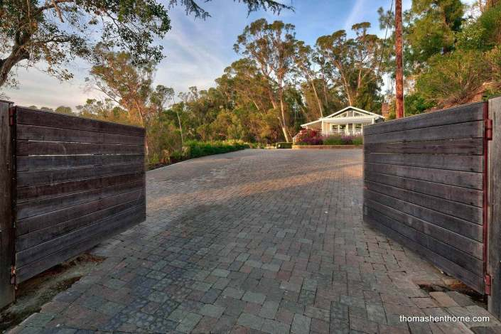 Entry gate with paver driveway