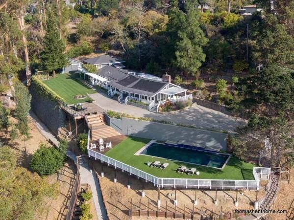 Aerial view of home and pool