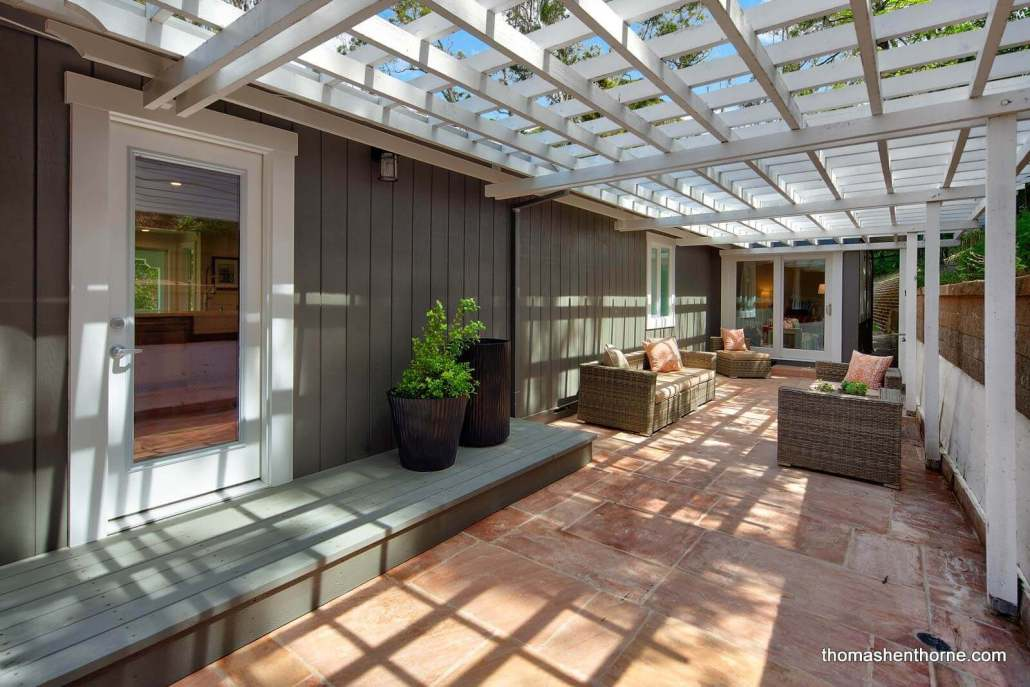 Patio with trellis overhead