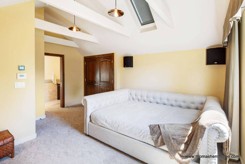 A-frame cathedral ceiling room with en suite bath