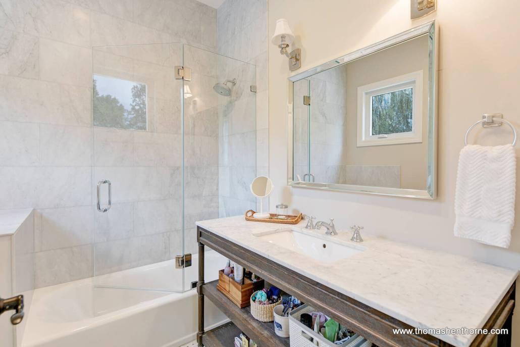 Bedroom with marble vanity