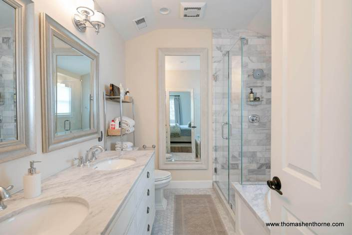 luxury home master bathroom with marble countertops