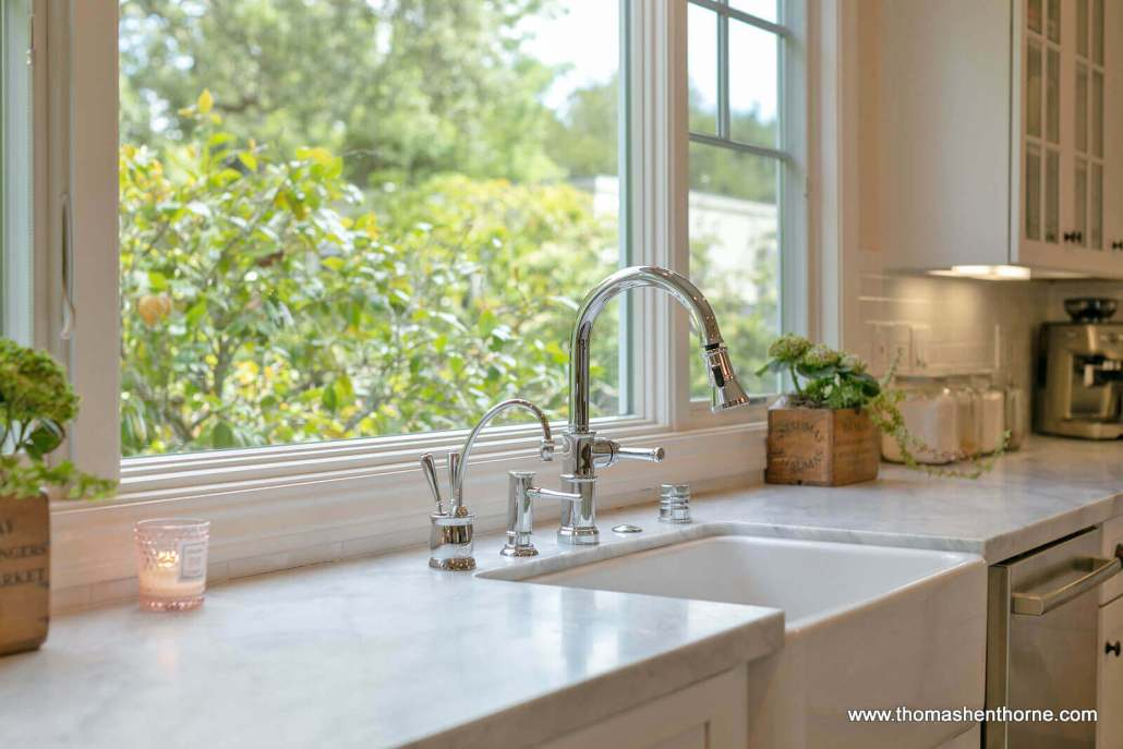 Kitchen sink with marble countertop