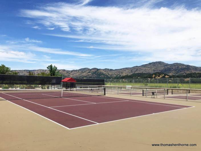 Tennis court near vineyards in Yountville California