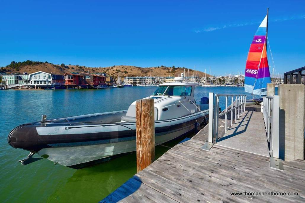View of dock with deep water access at home for sale in Point Richmond California