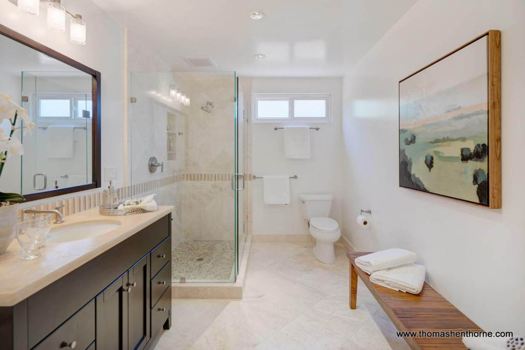 Bathroom with glass shower surround and custom vanity