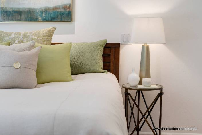 Nightstand lamp and bed