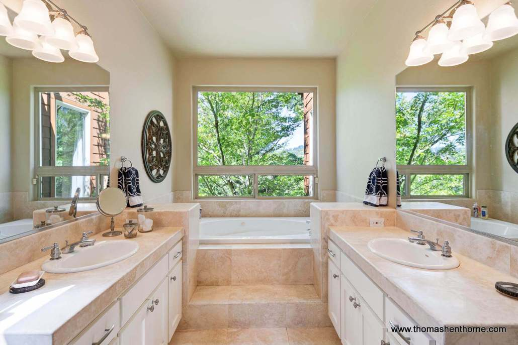 luxury home master bathroom with soaking tub