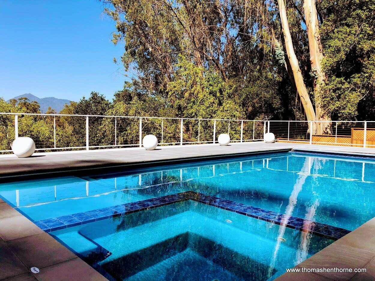 Beautiful swimming pool for Marin real estate market report July 2020