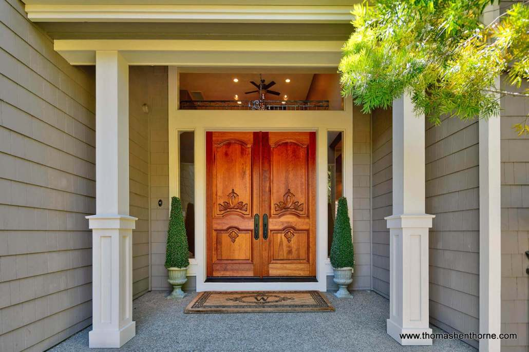 double front doors of luxury home in Novato