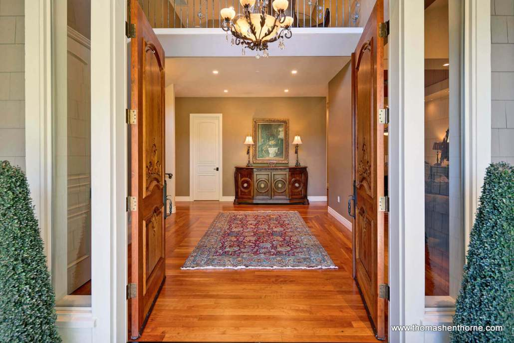 Entry foyer of luxury home in Marin County California
