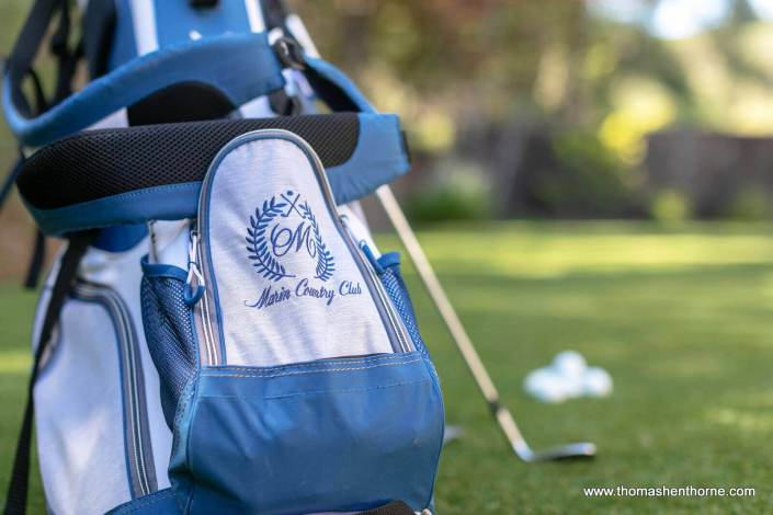 Golf bag with Marin Country Club embroidery