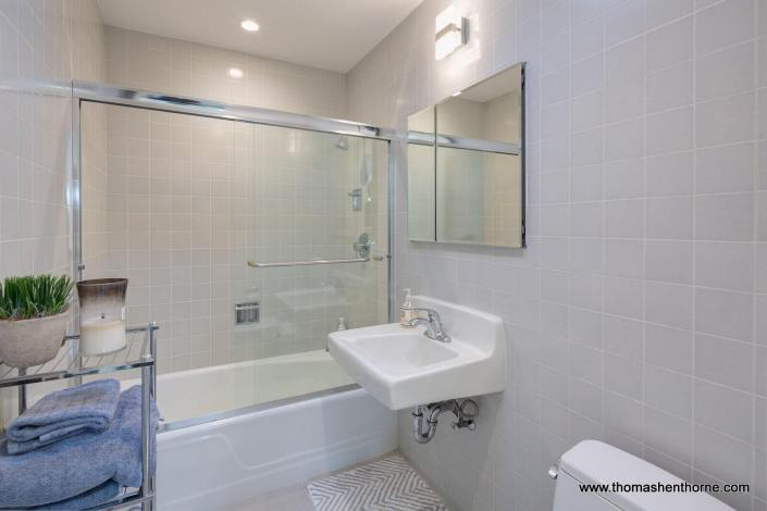 shower tub combination with glass doors and sink