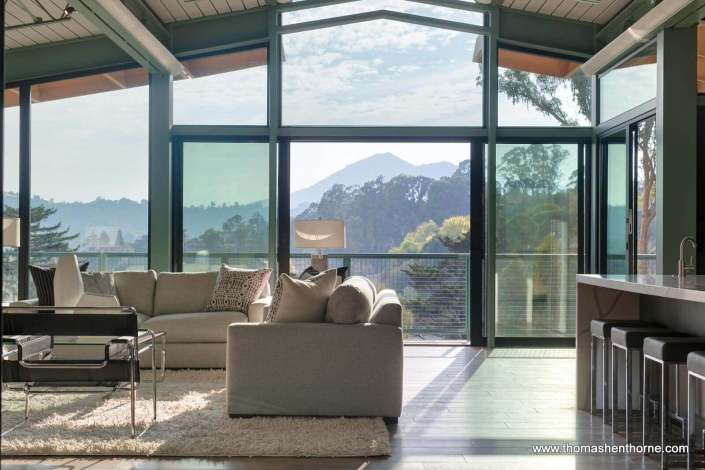 View of Mt. Tamalpais from inside home