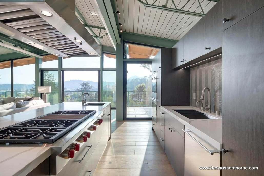 kitchen with wolf range