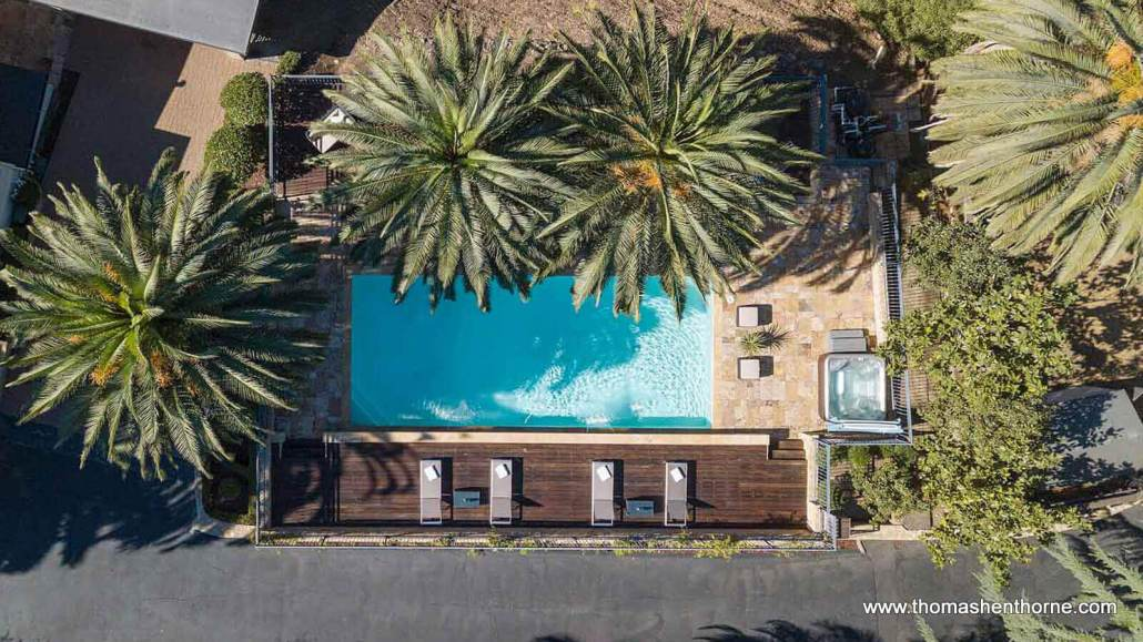 94 Deer Park Avenue aerial view of pool area