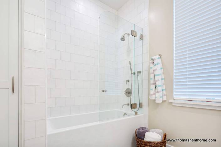 shower tub combination with subway tile