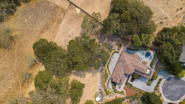 Aerial view of 70 Miwok Drive in Novato, California
