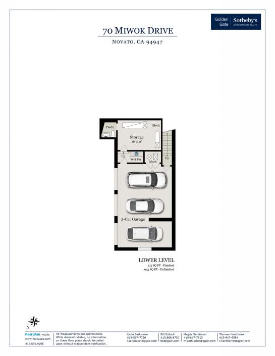 70 Miwok Drive Novato floorplan garage level
