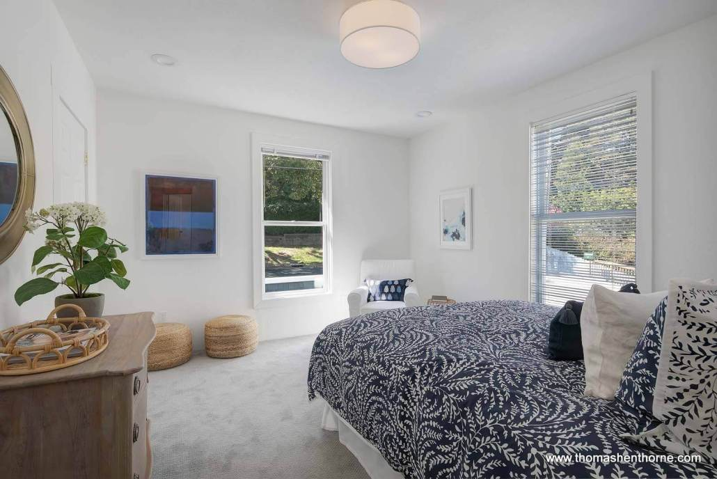 bedroom with two windows