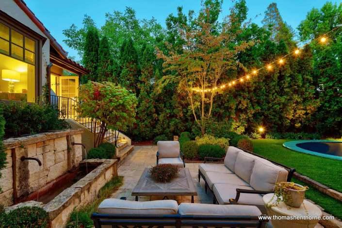 backyard with lights