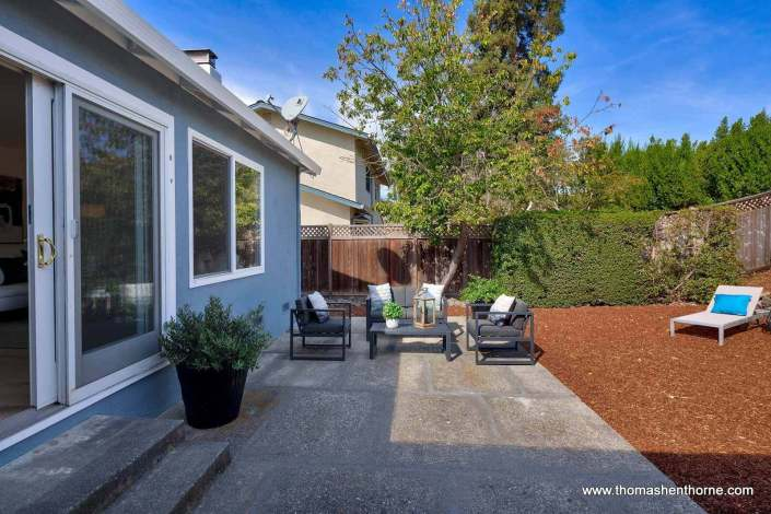backyard of home with seating area