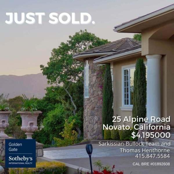 25 Alpine Road Novato just sold graphic
