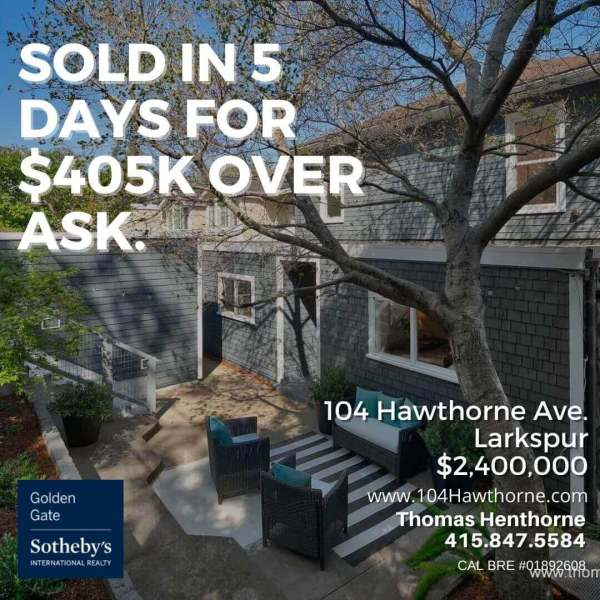 104 Hawthorne Ave Larkspur just sold graphic