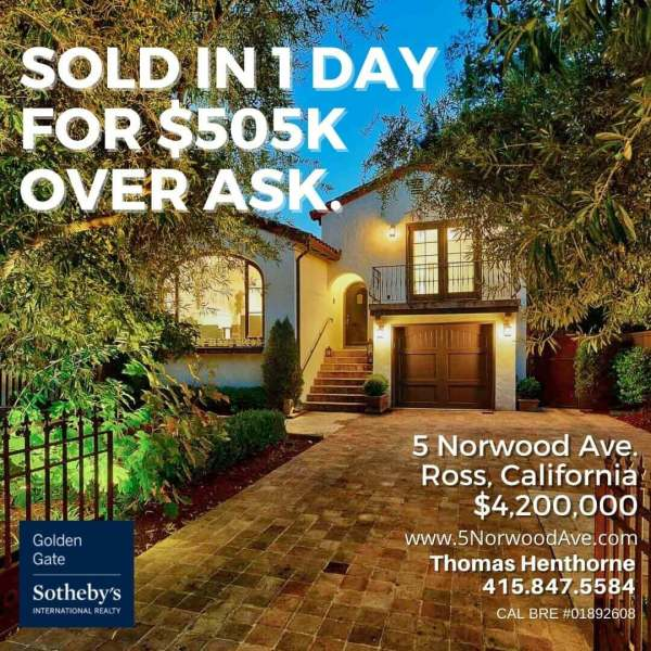 5 Norwood Avenue in Ross graphic sold in one day for $505k over ask