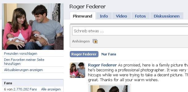 Roger Federer Facebook Seite