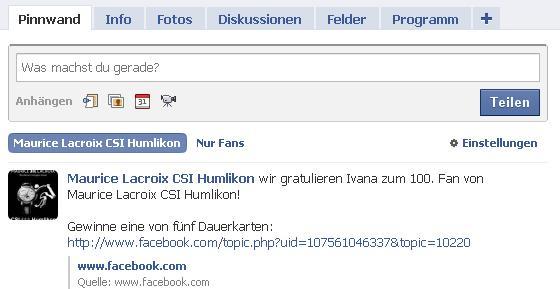 Facebook to Twitter - Maurice Lacroix CSI Humlikon
