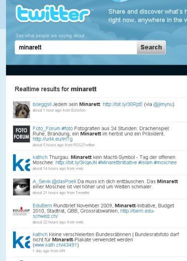 Minarett Initiative auf Twitter