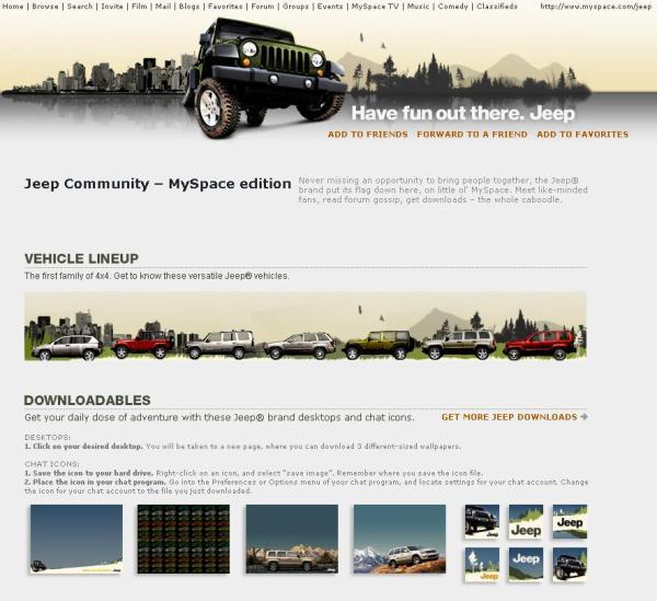 Jeep MySpace Profil