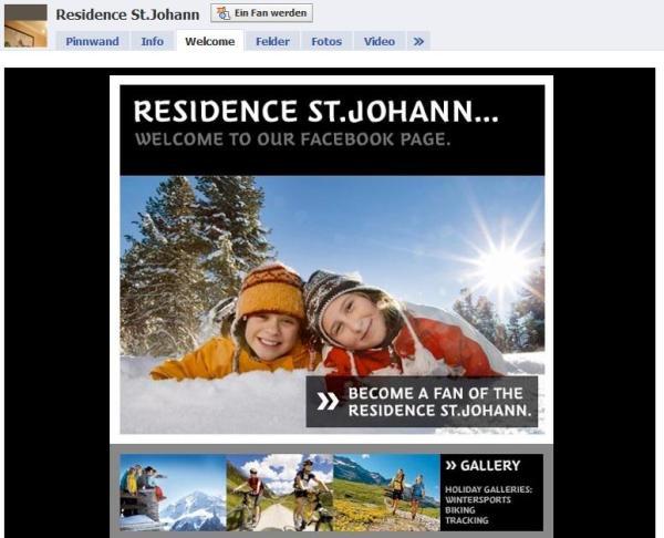 Beispiel einer Fanpage aus dem Bereich Tourismus - Residence St. Johann