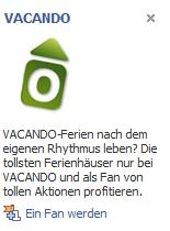 Beispiel Facebook Ad Vacando-Ferien