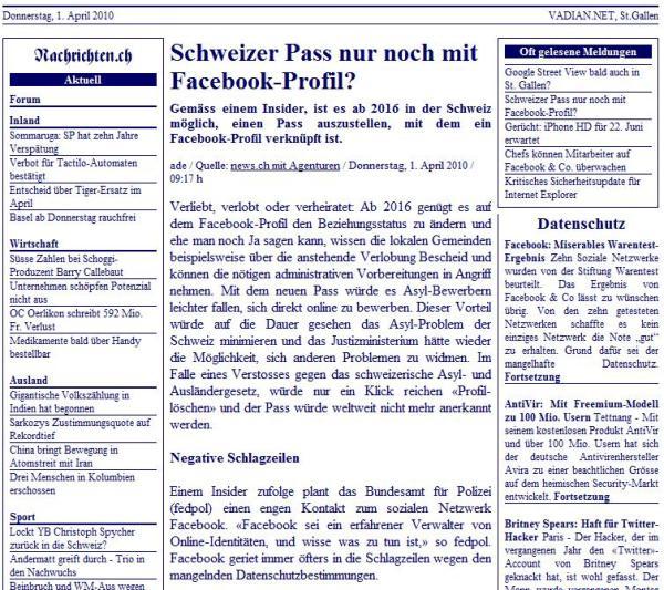 nachrichten.ch Schweizer Pass nur noch mit Facebook-Profil?