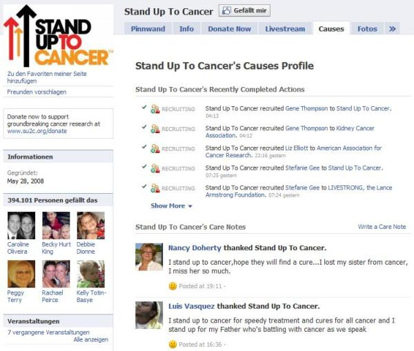 "Causes Integration in ""Stand Up To Cancer"""
