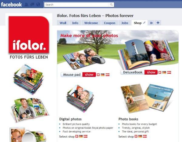 Ifolor Facebook Seite Shop in Englisch