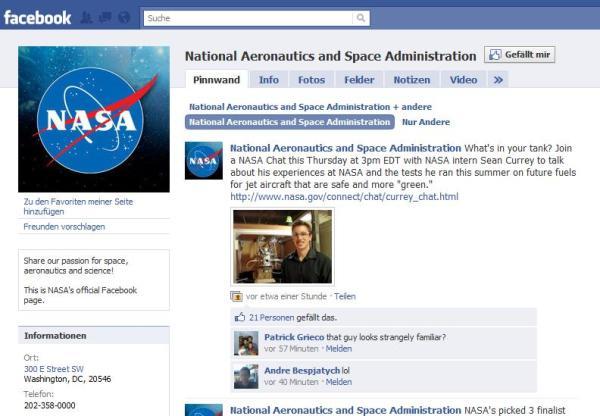 Offizielle NASA-Facebook-Seite