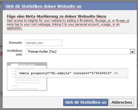 Domain-Claiming-Selektor auf facebook.com/insights