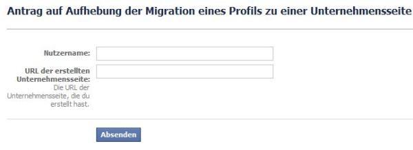 Antrag Aufhebung Mitgration Profil zu Unternehmensseite
