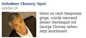Facebook Ad zu Clooney Spot