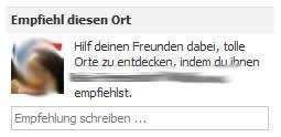 Empfehlungen von Facebookorte