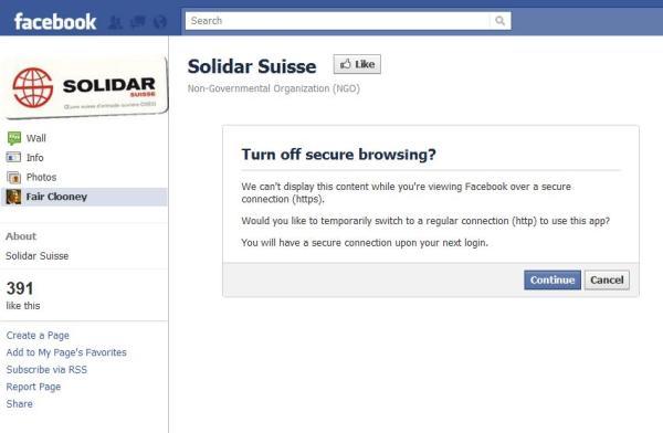 Fehlende HTTPS-Unterstützung Solidar Suisse (Französisch) Facebookseite